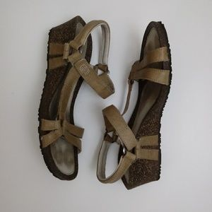 Teva Tan Leather Cork Wedge Sandals sz 10